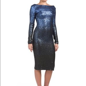 Dress the population emery ombré sequin dress M